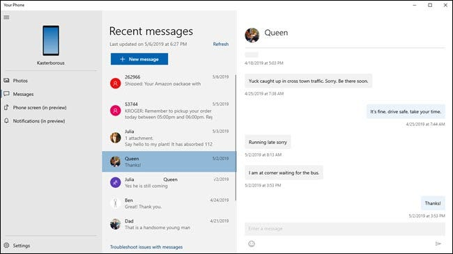 La aplicación Your Phone muestra mensajes de texto con fotos de contacto.
