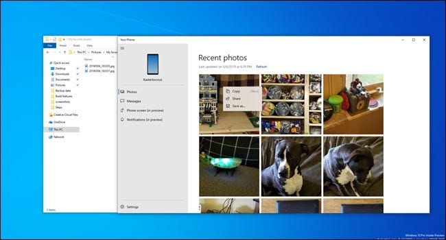 Your Phone app with photos next to file explorer window.