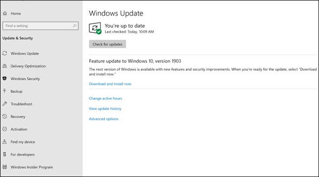 Windows Update dialog showing May 2019 update.