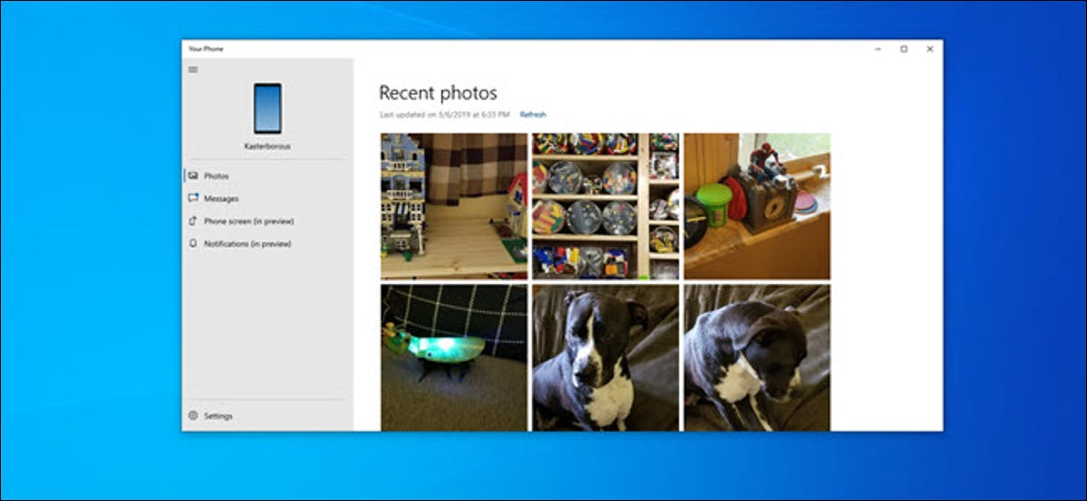 Your Phone PC app showing an assortment of photos.
