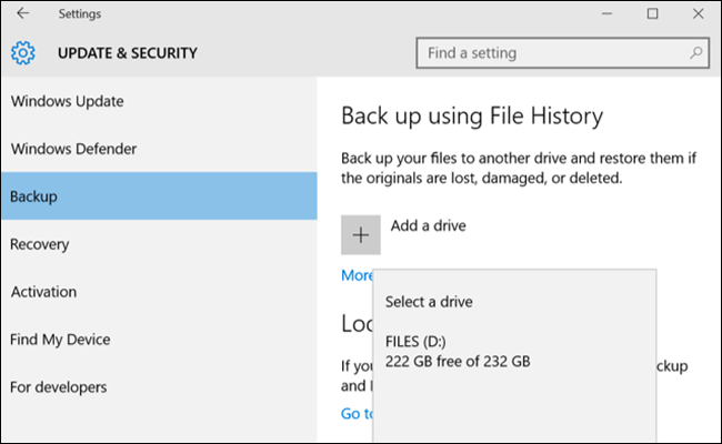 backup settings dialog, showing add a drive options