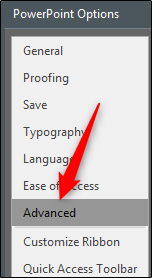 advanced PowerPoint options