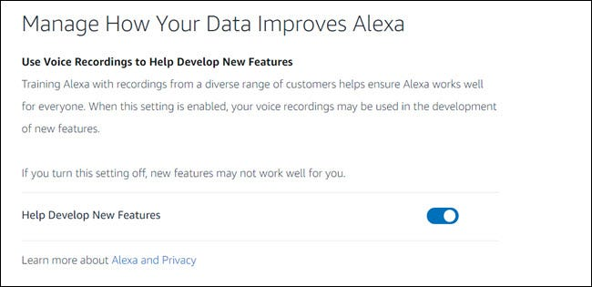 Alexa privacy dashboard with 'help develop new features' toggle.