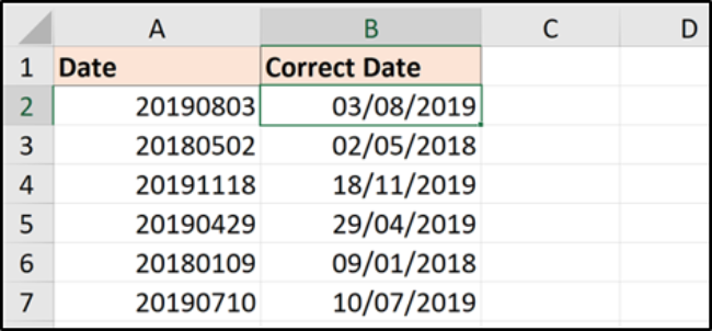Using the DATE formula with 8 digit numbers