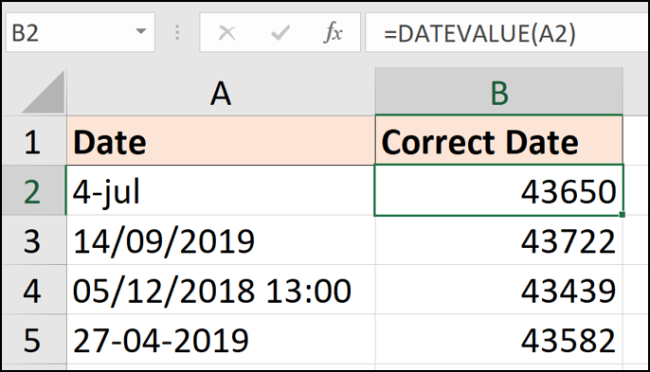 DATEVALUE function to convert to date values