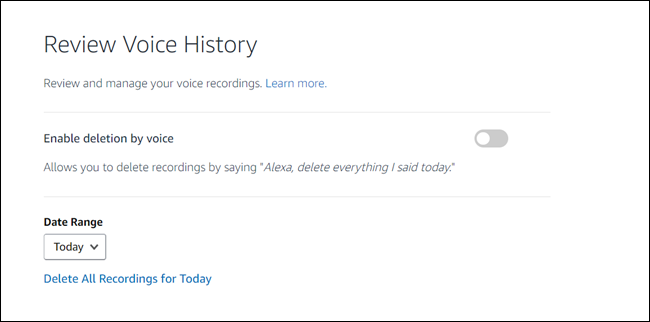 "Review Voice history dialog, with ""Enable deletion by voice"" toggle."