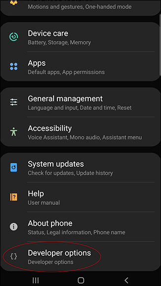 A screenshot of the Android settings page with the Developer Options now available