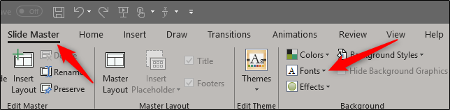font options in slide master view
