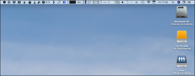 A cluttered Mac menu bar
