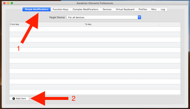 Click Simple Modifications. Click Add item
