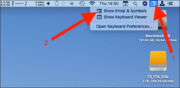 Click the emoji menu bar item and then click Show Emoji & Symbols