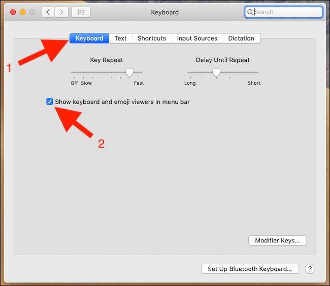 Marque Mostrar visores de teclado y emoji en la barra de menú