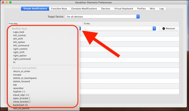 Haga clic en el cuadro vacío en la columna De clave.  Seleccione la clave que desea cambiar el comportamiento