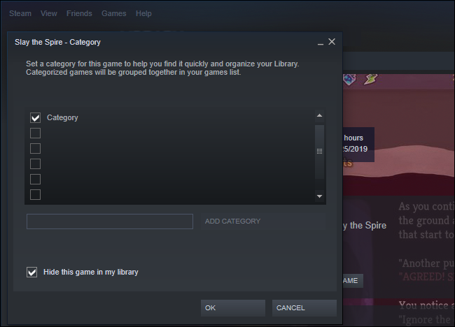 Option to hide a game in Steam