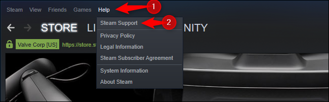 Steam Support option in Help menu