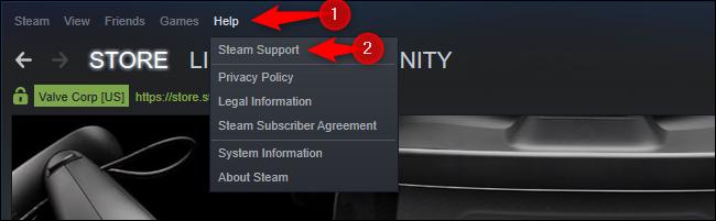 Steam Support option in Help menu
