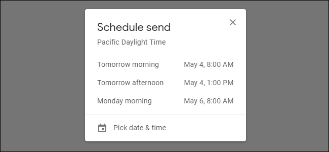 Choosing a time to send an email with Gmail