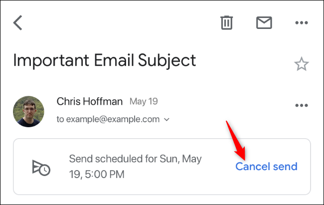 Cancel send option for a schedule email in Gmail on iPhone