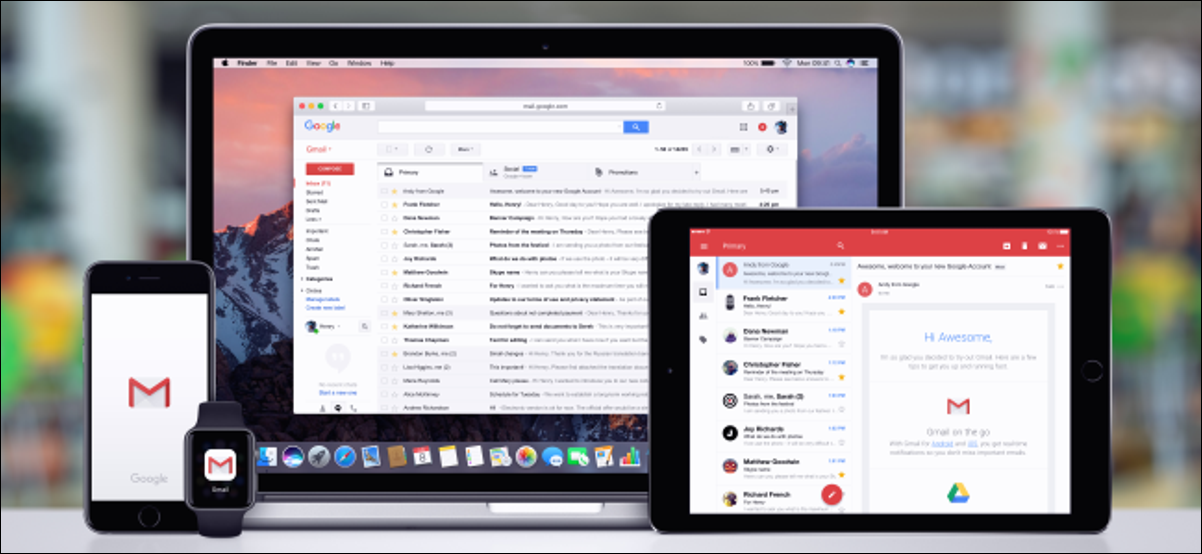 Gmail apps on a Mac, iPhone, iPad, and Apple Watch.