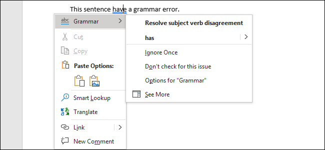 Fixing a grammar error in Word 2019 for Office 365