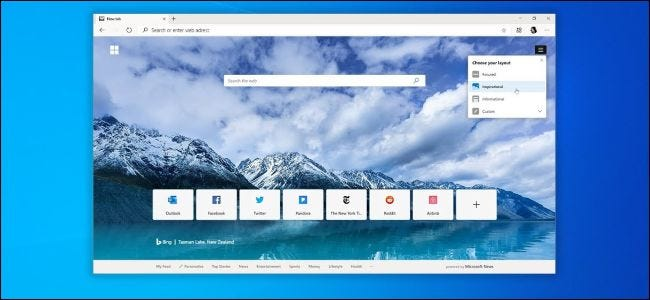 Chromium version of Microsoft Edge on Windows 10 desktop
