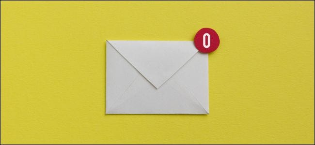 "Letter with a ""0"" representing an empty email inbox"