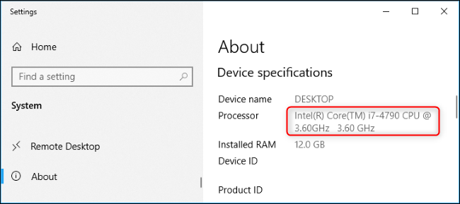 Processor model name in Windows 10's Settings app