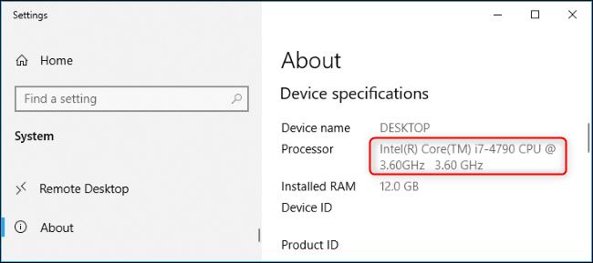 Processor model name in Windows 10's Settings app