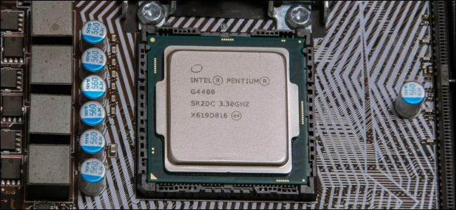 Intel Pentium CPU on computer motherboard.