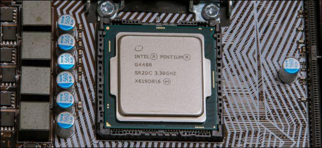 Intel Pentium CPU on computer motherboard.