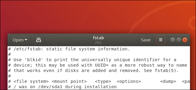 gedit text editor on Ubuntu Linux desktop