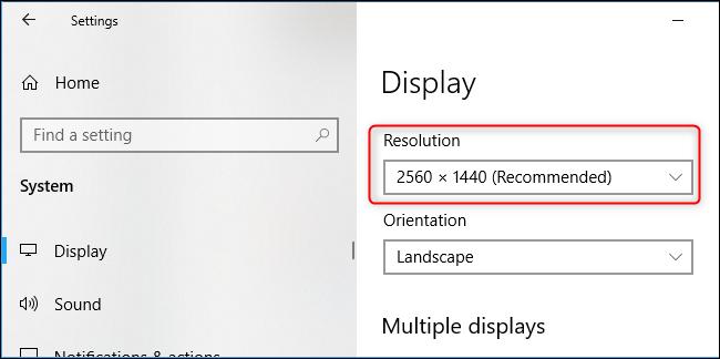 La resolución de la pantalla de su PC en la aplicación de configuración de Windows 10