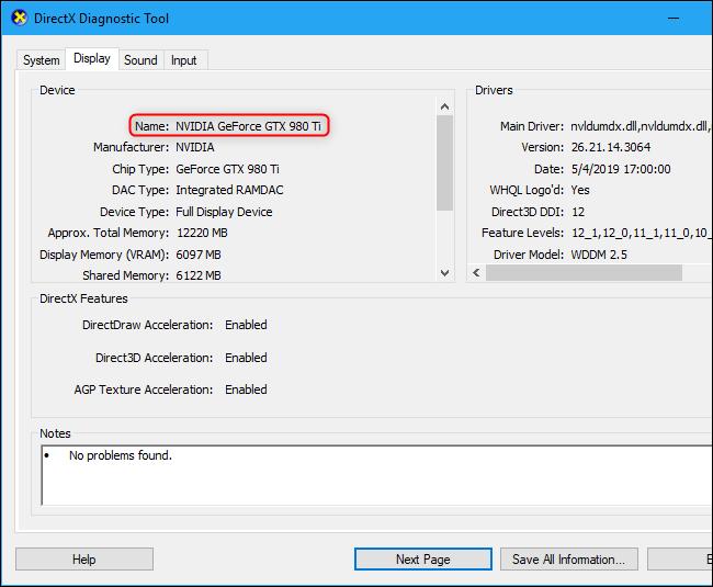 Herramienta de diagnóstico de DirectX que muestra el nombre de la tarjeta gráfica de la computadora