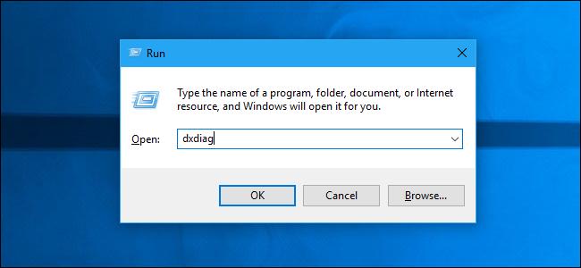 Ejecutar dxdiag desde el cuadro de diálogo Ejecutar de Windows 10