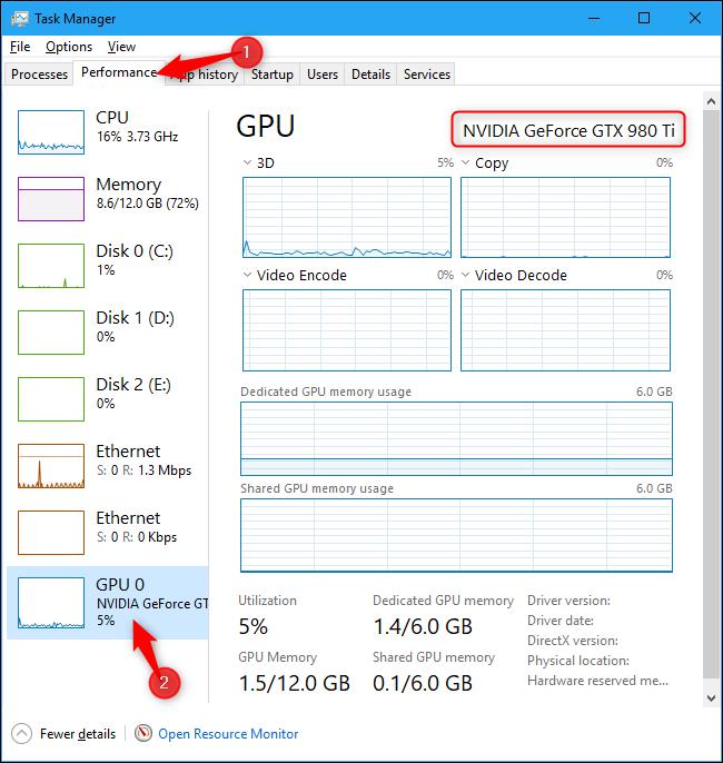 Nombre de la GPU de la computadora que se muestra en el Administrador de tareas de Windows 10