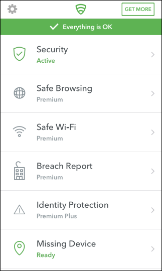 Pantalla principal de la aplicación Lookout en iPhone