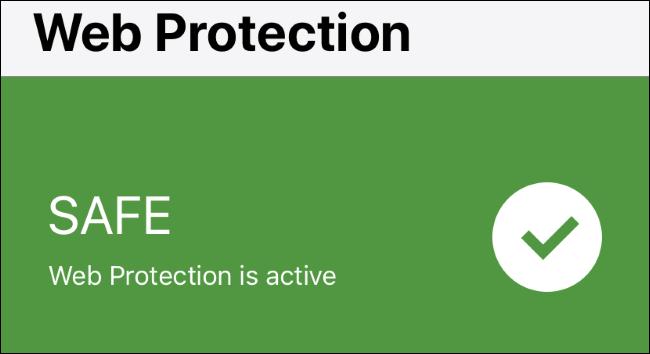 Estado de la protección web en Norton Mobile Security en iPhone