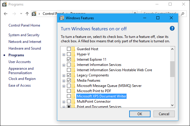 Disabling XPS and PDF printers on Windows 10