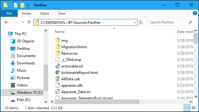 Windows 10 setup error message log Panther folder