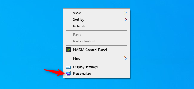 The Personalize option in Windows 10's desktop context menu