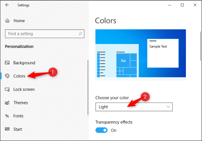 Enabling the light theme in Windows 10's Settings app