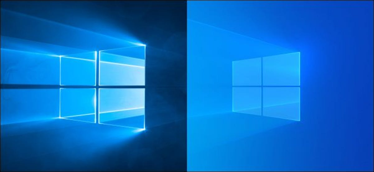 Old and new Windows 10 default desktop backgrounds