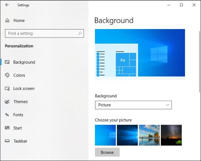 How to Get Windows 10's Old Default Desktop Background Back