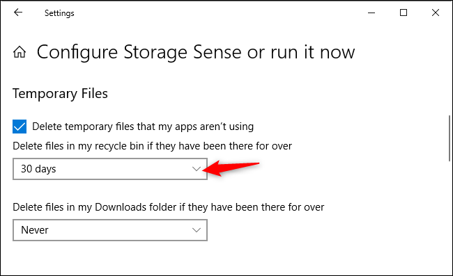 Option to control whether Storage Sense automatically deletes files in the Recycle Bin