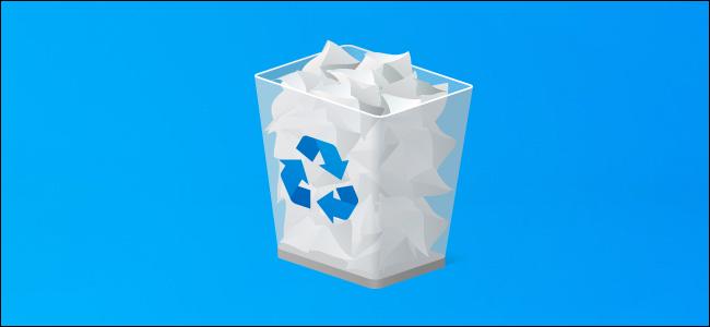 Recycle Bin on a Windows 10 desktop