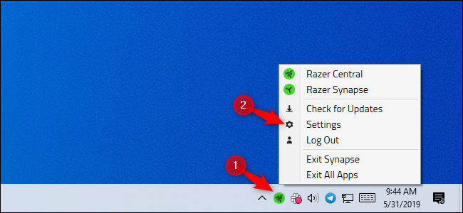 Opening Razer settings from the system tray icon