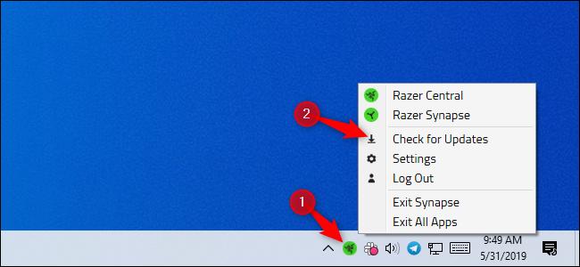 Opción de comprobación de actualizaciones de Razer en el área de notificación