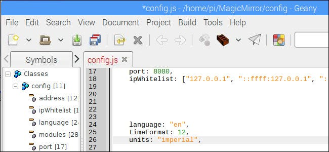 config.js file with timeFormat set to 12 and units set to imperial