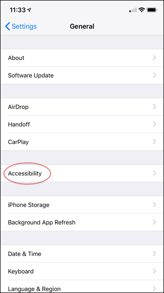 Screenshot of the iPhone's general settings page.