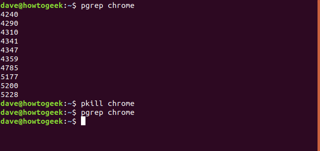 pgrep and pkill in a terminal window